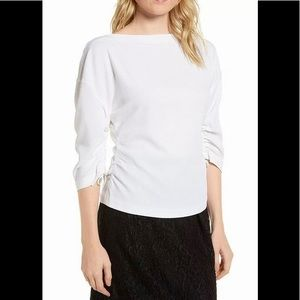 Lewit Ruched Crepe Top white Medium NEW NWT